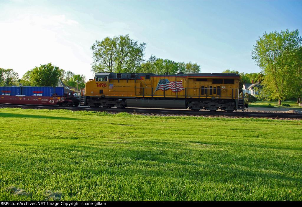 UP 7496 Runs Dpu on a Wb Stack train.