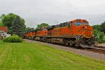BNSF 7231 Rips a EB stack train Thur Peck Park.