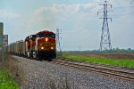 BNSF 5695 Takes a grain train EB,