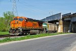 BNSF 5881 Works Dpu on a grain train.