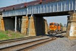 BNSF 6250 Leads a Wb under a grain train on the ottumwa Sub.