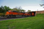BNSF 7060 Takes a Stack train Wb under the Mendota sub.