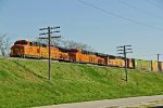 BNSF 5109 Leads a freight train Sb into town.