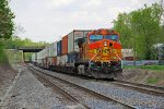 BNSF 5295 Works Dpu on a Wb stack train.