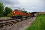 BNSF 7546 Takes a stack train Wb under the Old Bn line.