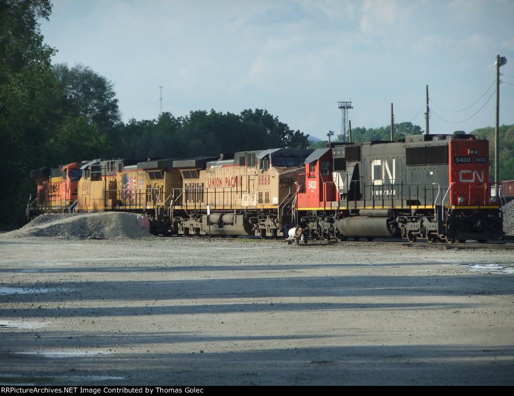 Locomotives in fueling area
