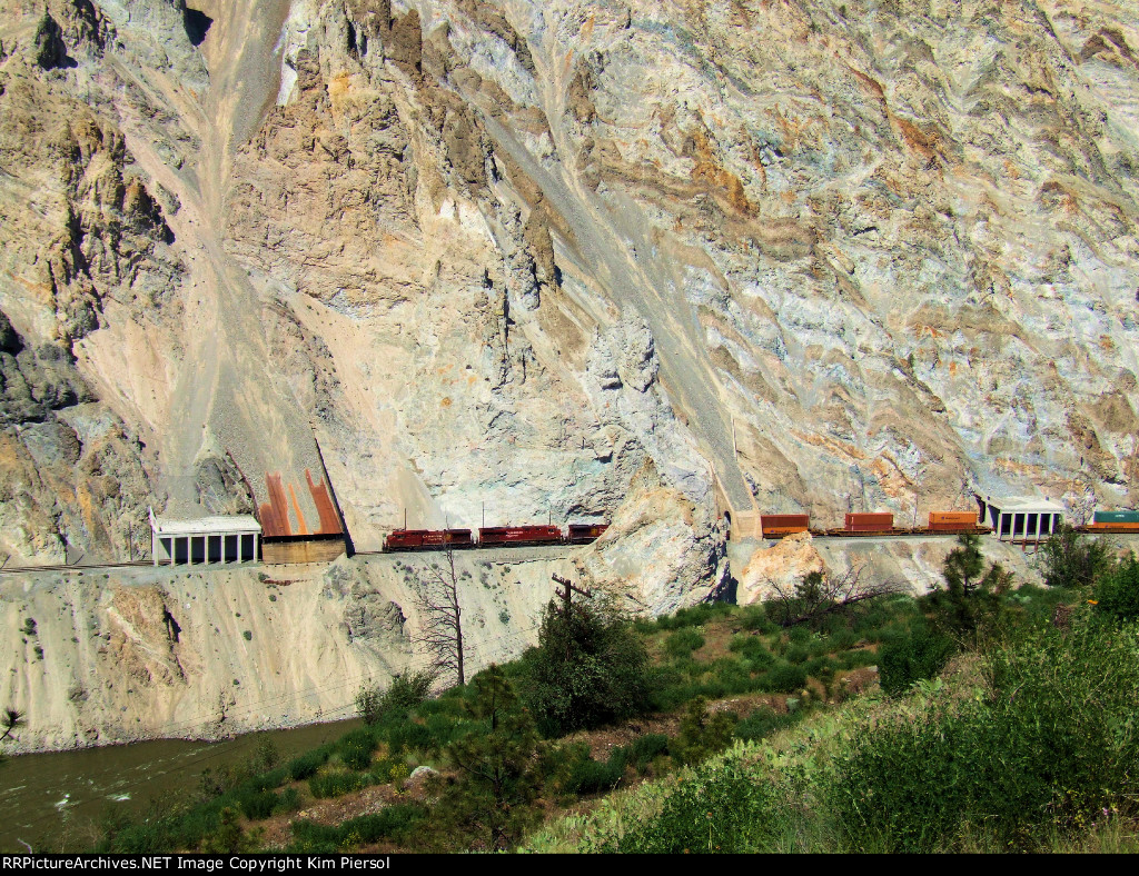 CP 9600 Through Series of Tunnels/Rock Sheds in the Spectacular White Canyon