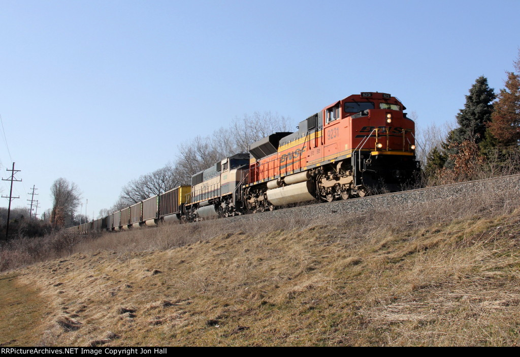 With clear track finally ahead of them, BNSF 9231 & 9509 head east with N956-28