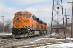 BNSF 6388 trails behind the 6119 as they head for Plaster Creek