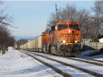 Heading up Track 1, BNSF 5796 & 9839 lead 130 coal loads east