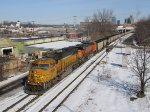 BNSF 8836 & 5954 start to pull harder as they pass Pleasant St with N956-01