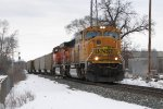BNSF 9851 & 5973 roll onto the single main at Seymour leading N956 east