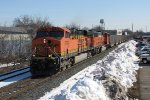 After waiting for Q326, BNSF 5796 & 9839 start west for Chicago with E945-07