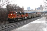 BNSF 9275 & 9069 dig in as they begin to lift N956-11 east