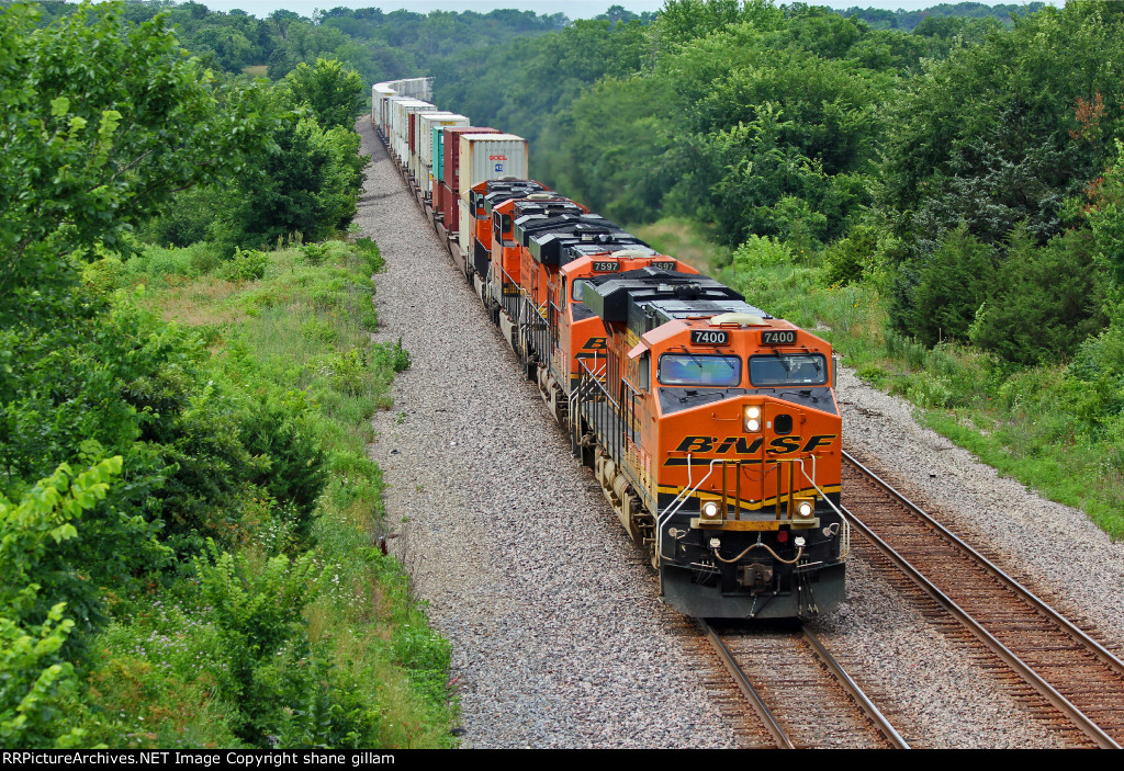 BNSF 7400 Rips a EB stack train with 4 unit's.