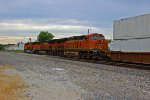 BNSF 6647 3rd unit out on a Wb stack train.
