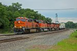 BNSF 7084 Rips a EB stack train into La Plata Mo.