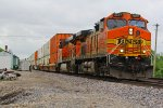 BNSF 4657 Heads up a WB stack train into Ethel Mo.