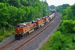 BNSF 6652 Leads a Wb stack train intto the Curves!