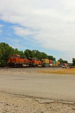 BNSF 6704 Heads up a Wb stack train on main!