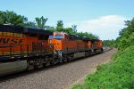 BNSF 7608 Rips a EB z train toward La Plata Mo.