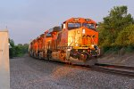 BNSF 7084 Leads a EB z train into the Morning Sun!!