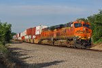 BNSF 7423 Rips a ocean container train EB.