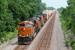 BNSF 6871 Heads up a sting of stacks's WB.