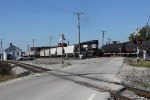 NS 3322 shoves back across County Road 60 while working Blair Yard