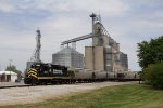 2230 goes about the chore of loading a grain train at the Edon elevator