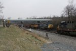 With K185 stopped due to a signal issue, CSX 130 & OFOX 2797 take Q506 north through Middle Vandalia