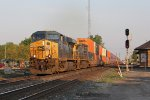 CSX 761 & 38 accelerate east with Q156 heading for North Baltimore to make a setout and pick up