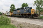 CSX 4042 sits with the Defiance caboose waiting for Monday