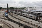 Electric passenger equipment waits near power for the South Shore freight operations