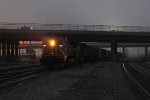 Bound for the NS with a potash train, UP 3554 pulls east to depart Bensenville Yard with 296