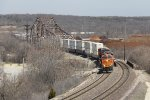 Crossing several bridges, BNSF 7411 leads Z-WSPALT9 from one side to the other of the Des Plaines River valley