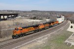BNSF 7411 leads a Dash-9 and a brand new ES44C4 west with a Z-train for Fort Worth