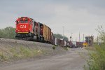 CN 5443 continues the shove back through Kirk Yard Junction