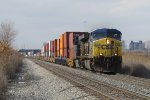 CSX 619 leads Q158 east on Track 1