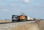 Train 17K with a BNSF leader blasts by the Wabash Heritage unit