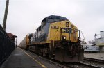 CSX 17 leads a westbound loaded autorack train past the old station