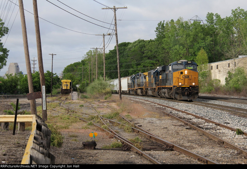 As Q335 slowly rolls past, 9247 sits far down one of the old piggyback tracks waiting to be scrapped
