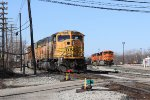 BNSF 9892 leads N956 off the Service Track as Y106 moves around the yard