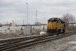 Y195 pulls back around the west leg of the wye after spotting loaded salt cars on the Grand River bridge