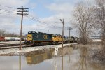 """With the remainder of the yard power left at """"Wyoming Lake"""" in tow, Q327 pulls off the Service Track at the west end"""