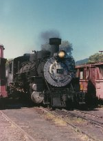 D&RGW 487 pausing in the yard