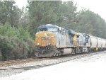 CSX locomotive 5496 pulls a northbound grain train