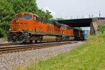 BNSF 7920 Runs a Wb stack train Under the old Bn lines.