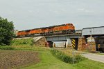 BNSF 7024 Heads EB with a stack train!
