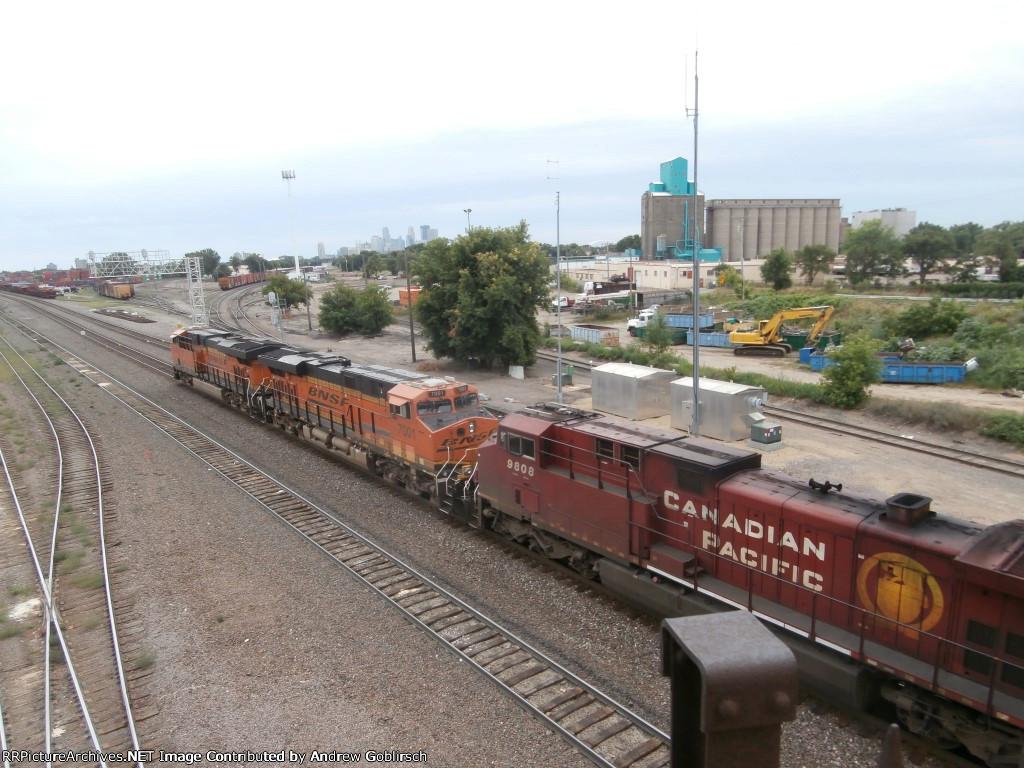 BNSF 7047, 7001 & CP 9808
